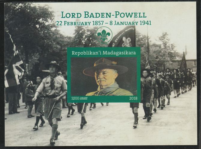 Madagascar 2018 Lord Baden Powell imperf souvenir sheet unmounted mint. Note this item is privately produced and is offered purely on its thematic appeal.