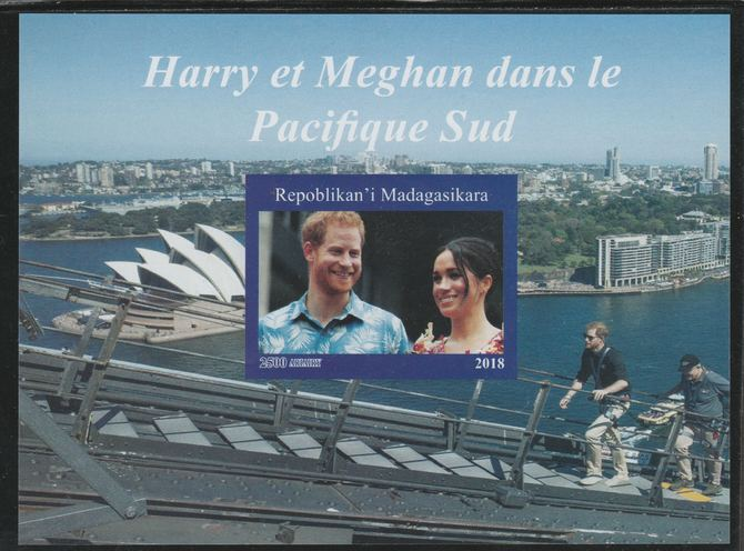 Madagascar 2018 Harry & Meghan South Pacific Tour imperf souvenir sheet unmounted mint. Note this item is privately produced and is offered purely on its thematic appeal.