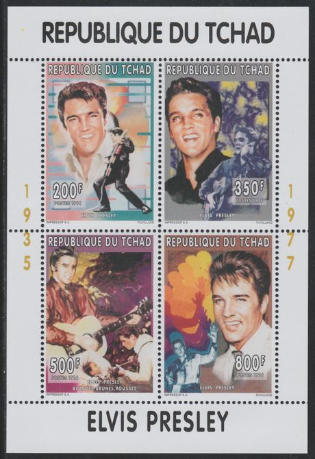 Chad 1996 Elvis Presley perf sheetlet containing 4 values unmounted mint
