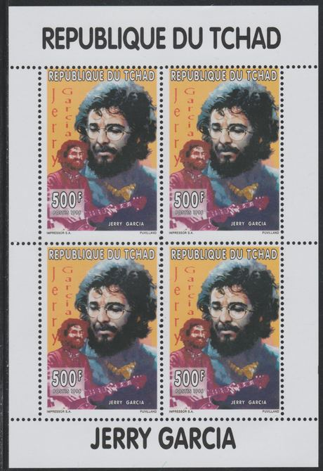 Chad 1996 Jerry Garcia perf sheetlet containing 4 values unmounted mint