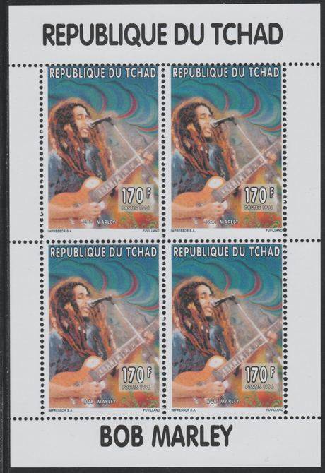 Chad 1996 Bob Marley perf sheetlet containing 4 values unmounted mint