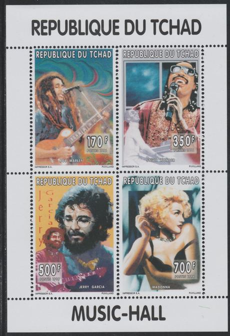 Chad 1996 Music Hall perf sheetlet containing 4 values (Bob Marley, Stevie Wonder, Jerry Garcia & Madonna)unmounted mint