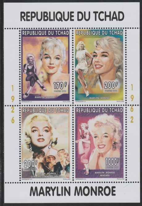 Chad 1996 Marilyn Monroe perf sheetlet containing 4 values unmounted mint