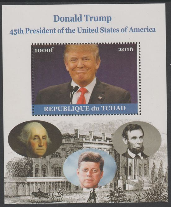 Chad 2016 Donald Trump perf s/sheet containing 1 value unmounted mint. Note this item is privately produced and is offered purely on its thematic appeal. .