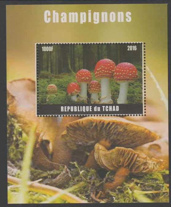 Chad 2016 Fungi perf s/sheet containing 1 value unmounted mint. Note this item is privately produced and is offered purely on its thematic appeal. .