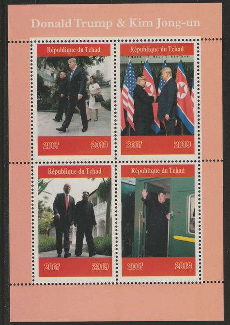 Chad 2019 Donald Trump Meets Kim Jong-un perf sheetlet containing 4 values unmounted mint. Note this item is privately produced and is offered purely on its thematic appeal, it has no postal validity