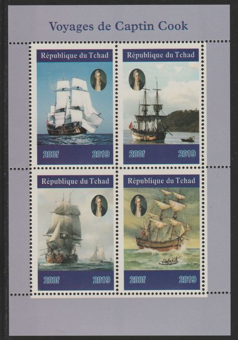 Chad 2019 Voyages of Captain Cook perf sheetlet containing 4 values unmounted mint. Note this item is privately produced and is offered purely on its thematic appeal, it ...