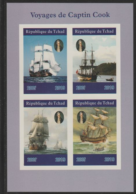 Chad 2019 Voyages of Captain Cook imperf sheetlet containing 4 values unmounted mint. Note this item is privately produced and is offered purely on its thematic appeal, it has no postal validity