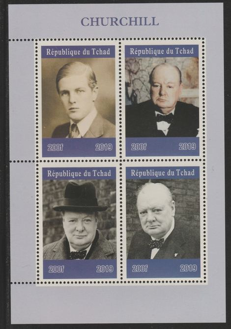Chad 2019 Churchill perf sheetlet containing 4 values unmounted mint. Note this item is privately produced and is offered purely on its thematic appeal, it has no postal validity