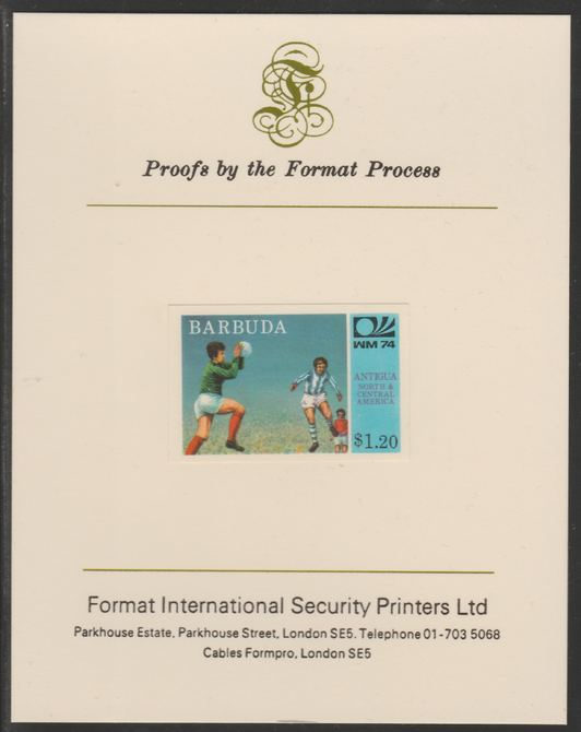Barbuda 1974 World Cup Football $1.20 imperf proof mounted on Format International proof card (as SG 169)
