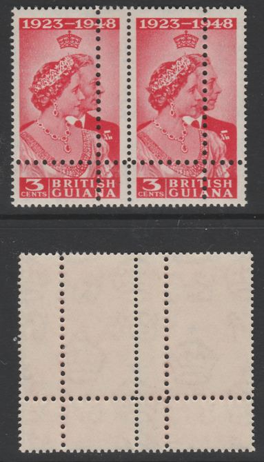 British Guiana 1949 Royal Silver Wedding 3c horizontal pair with perforations doubled, unmounted mint as SG 322var. Note: the stamps are genuine but the additional perfs are a slightly different gauge identifying it to be a forgery.