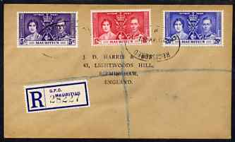 Mauritius 1937 KG6 Coronation set of 3 on reg cover with first day cancel addressed to the forger, J D Harris.  Harris was imprisoned for 9 months after Robson Lowe expos...