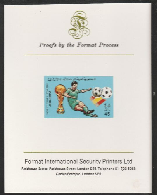 Libya 1982 Football World Cup 45dh imperf mounted on Format International Proof Card, as SG1180