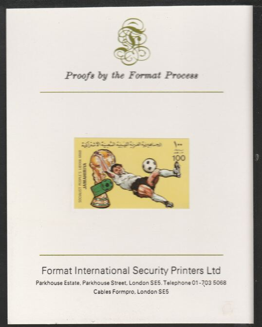 Libya 1982 Football World Cup 100dh imperf mounted on Format International Proof Card, as SG1181