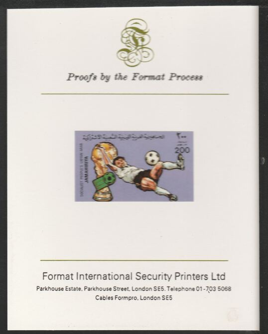 Libya 1982 Football World Cup 200dh imperf mounted on Format International Proof Card, as SG1182