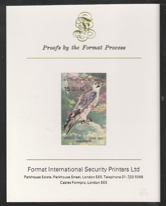 Libya 1982 Birds - Peregrine Falcon 15dh imperf mounted on Format International Proof Card, as SG1192, stamps on birds, stamps on birds of prey, stamps on falcons