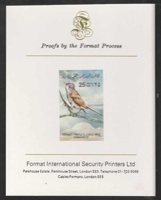 Libya 1982 Birds - Whitethroat 25dh imperf mounted on Format International Proof Card, as SG1194