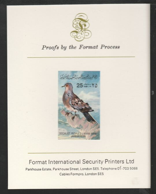 Libya 1982 Birds - Turtle Dove 25dh imperf mounted on Format International Proof Card, as SG1195