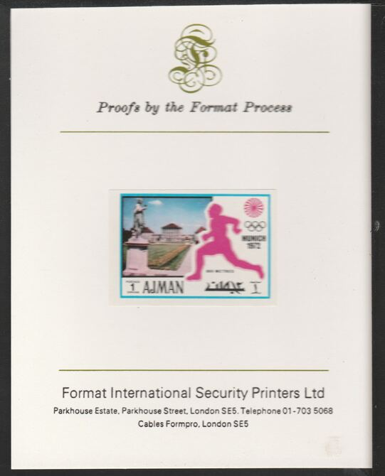 Ajman 1971 800 metres 1dh from Munich Olympics set, imperf proof mounted on Format International proof card, as Mi 726B