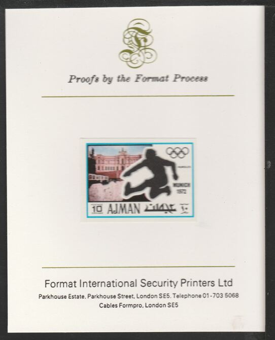 Ajman 1971 Hurdling 10dh from Munich Olympics set, imperf proof mounted on Format International proof card, as Mi 733B