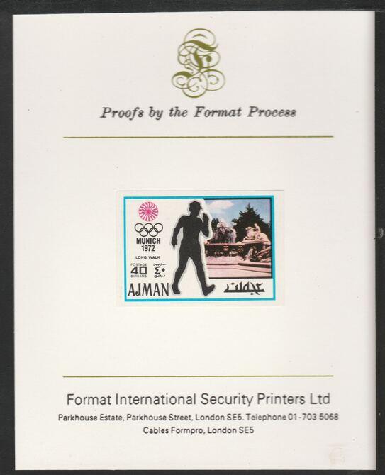 Ajman 1971 Walk 40dh from Munich Olympics set, imperf proof mounted on Format International proof card, as Mi 740B