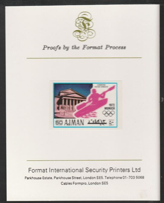 Ajman 1971 Canoeing 50dh from Munich Olympics set, imperf proof mounted on Format International proof card, as Mi 741B