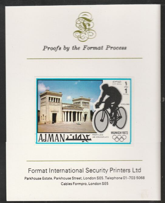 Ajman 1971 Cycling 1R from Munich Olympics set, imperf proof mounted on Format International proof card, as Mi 742B