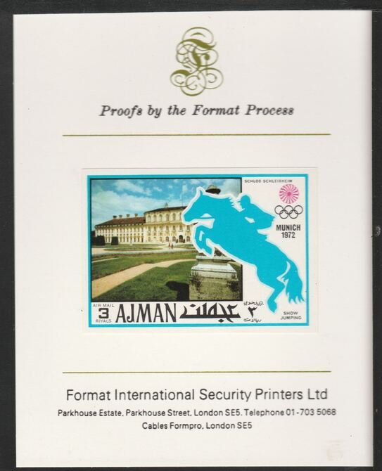 Ajman 1971 Show Jumping 3R from Munich Olympics set, imperf proof mounted on Format International proof card, as Mi 745B