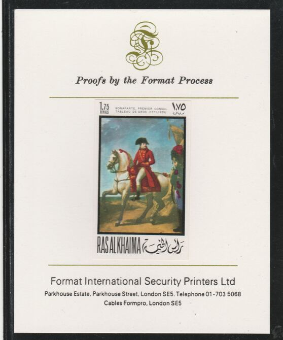 Ras Al Khaima 1969 Napoleon by Antoine-Jean Gros 1.75R  imperf mounted on Format International proof card, as Mi 322B