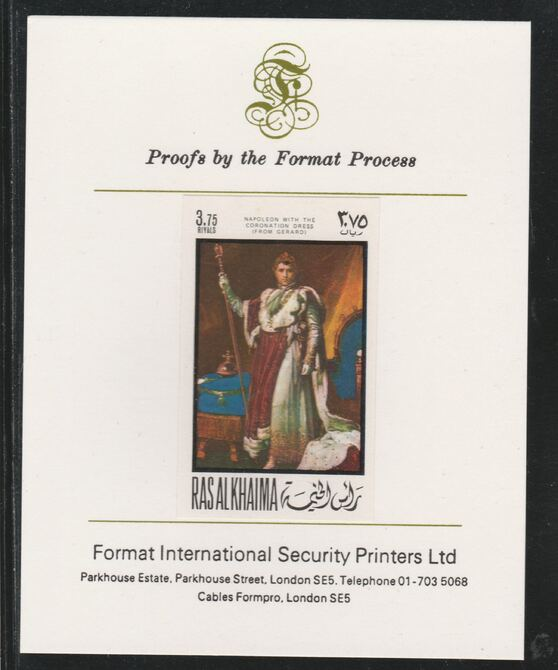 Ras Al Khaima 1969 Napoleon by Simon Gerard.3.75R  imperf mounted on Format International proof card, as Mi 324B