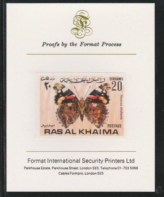 Ras Al Khaima 1972 Butterflies 20Dh  imperf mounted on Format International proof card, as Mi 615B