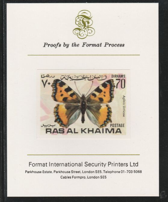 Ras Al Khaima 1972 Butterflies 70Dh  imperf mounted on Format International proof card, as Mi 616B