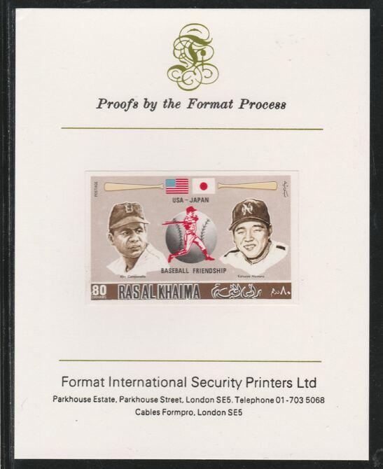 Ras Al Khaima 1972 Baseball USA & Japan 80Dh  imperf mounted on Format International proof card, as Mi 718B