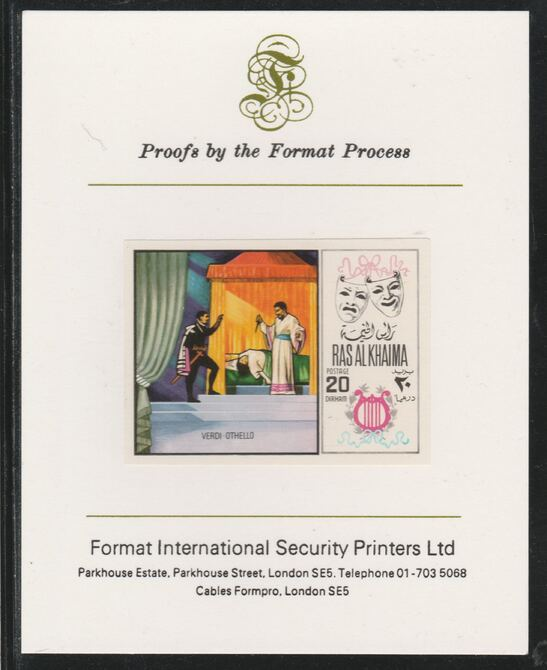 Ras Al Khaima 1969 Scenes from Operas 20Dh Othello by Verdi  imperf mounted on Format International proof card, as Mi 281B