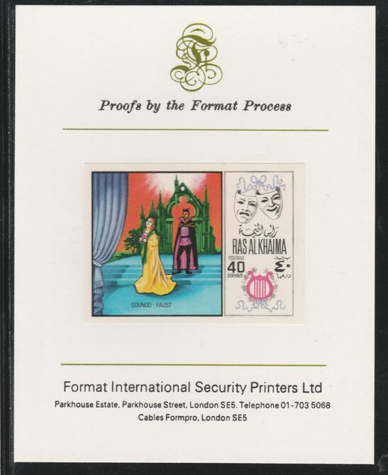 Ras Al Khaima 1969 Scenes from Operas 40Dh Faust by Gounod  imperf mounted on Format International proof card, as Mi 282B