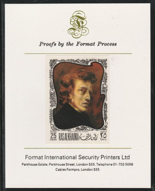 Ras Al Khaima 1969 Paintings of Composers - Chopin  25D imperf mounted on Format International proof card, as Mi 276B