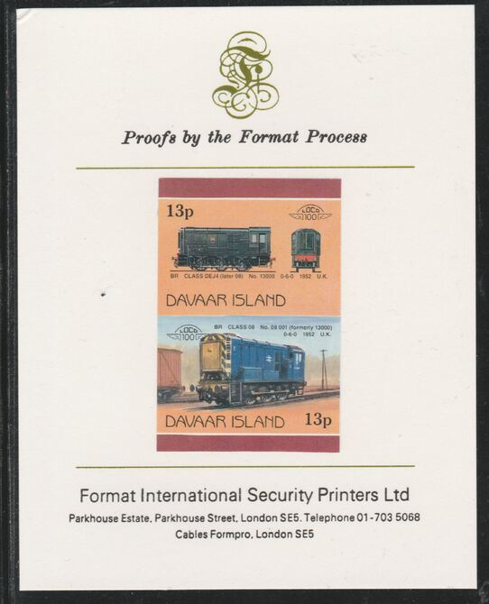Davaar Island 1983 Locomotives #2 BR Class DEJ4 0-6-0 shunter 13p imperf se-tenant pair mounted on Format International proof card, stamps on railways