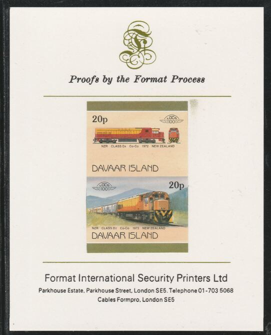 Davaar Island 1983 Locomotives #2 NZR Class Dx Co-Co loco 20p imperf se-tenant pair mounted on Format International proof card, stamps on railways