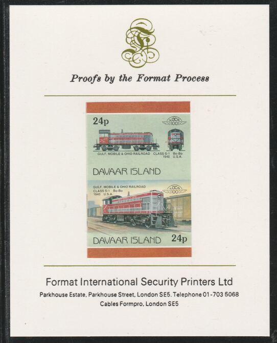 Davaar Island 1983 Locomotives #2 Gulf, Mobile & Ohio Class S-1 loco 24p imperf se-tenant pair mounted on Format International proof card