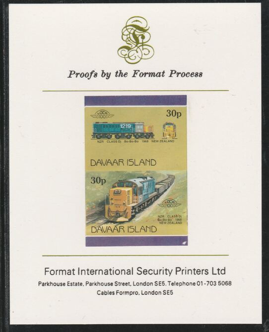 Davaar Island 1983 Locomotives #2 NZR Class Dj Bo-Bo-Bo loco 30p imperf se-tenant pair mounted on Format International proof card, stamps on railways