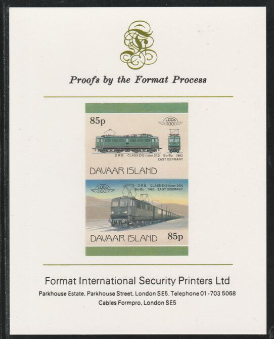 Davaar Island 1983 Locomotives #2 DRB Class E42 Bo-Bo loco 85p imperf se-tenant pair mounted on Format International proof card