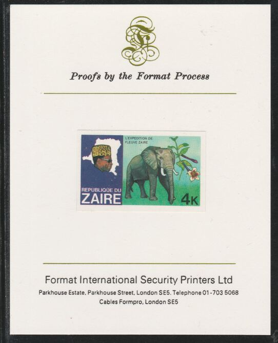 Zaire 1979 River Expedition 4k Elephant imperf mounted on Format International proof card as SG 954