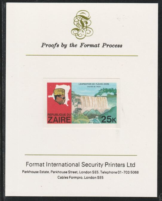 Zaire 1979 River Expedition 25k Inzia Falls imperf mounted on Format International proof card as SG 958