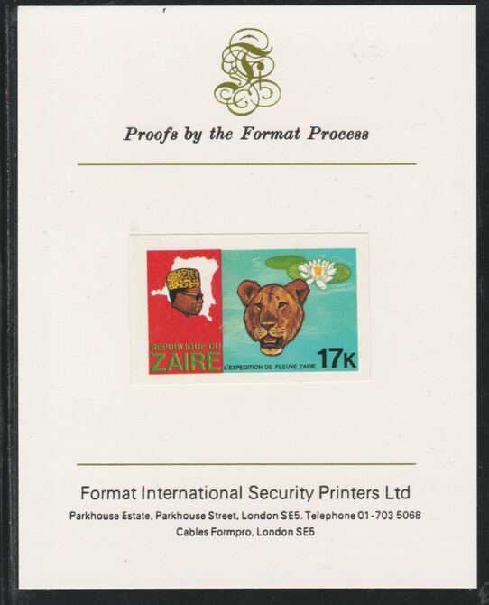 Zaire 1979 River Expedition 17k (Leopard & Water Lily) imperf mounted on Format International proof card as SG 957