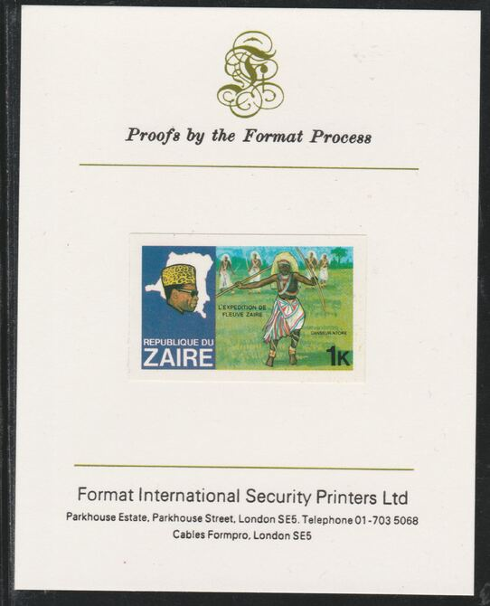 Zaire 1979 River Expedition 1k Ntore Dancer imperf mounted on Format International proof card as SG 952
