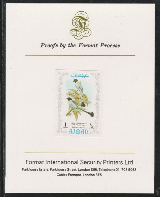 Ajman 1971 Exotic Birds - Hooded Treepie 1Dh imperf mounted on Format International proof card as Mi 879B