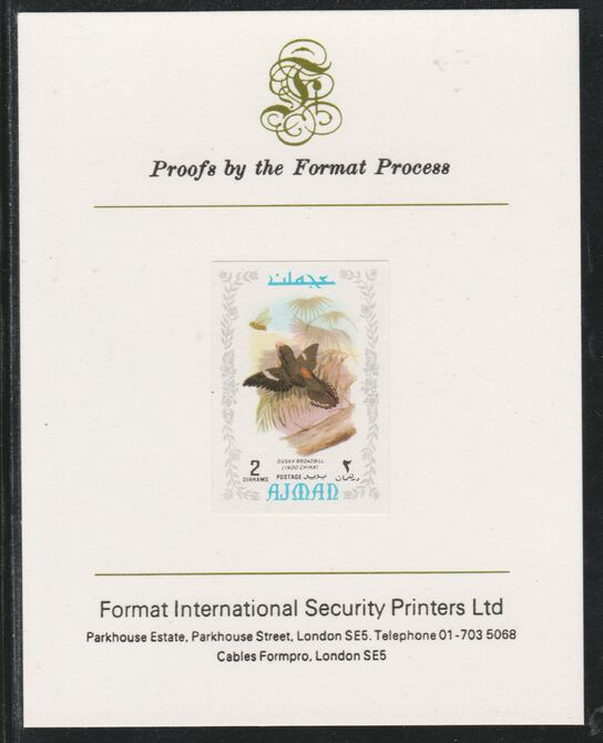Ajman 1971 Exotic Birds - Dusky Broadbill 2Dh imperf mounted on Format International proof card as Mi 880B