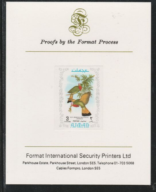 Ajman 1971 Exotic Birds - Red-Bearded Bee-Eater 3Dh imperf mounted on Format International proof card as Mi 881B
