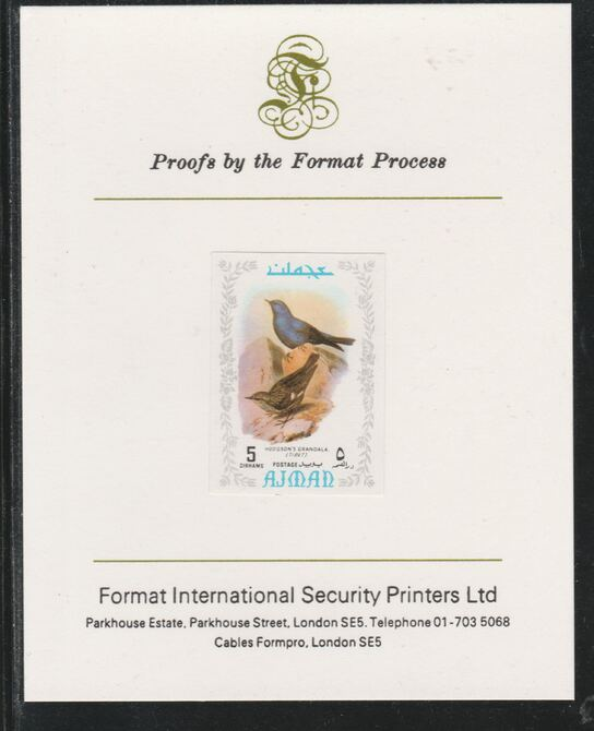 Ajman 1971 Exotic Birds - Grandala 5Dh imperf mounted on Format International proof card as Mi 882B