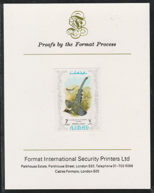 Ajman 1971 Exotic Birds - Blue Magpie 7Dh imperf mounted on Format International proof card as Mi 883B